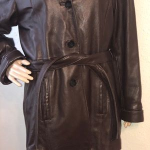 Wilsons Leather Jackets & Coats - Wilsons Brown Leather Women's Trench Style Jacket